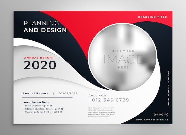 Stijlvolle rode golvende zakelijke brochure presentatiesjabloon Gratis Vector