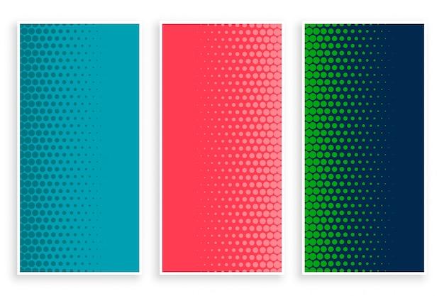 Stijlvolle set halftone banners in drie kleuren Gratis Vector