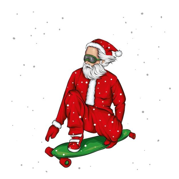 Stijlvolle skater die kerstman-kostuum draagt. illustratie. Premium Vector