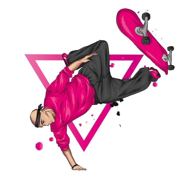 Stijlvolle skater in jeans en sneakers. skateboard. Premium Vector