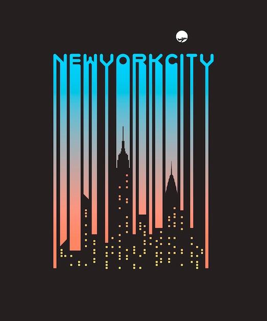 Stijlvolle streepjescodetekst van new york city met vensters Premium Vector