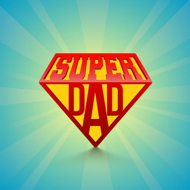 Stijlvolle tekst super day op blauwe stralen achtergrond. happy father's day viering concept. Premium Vector