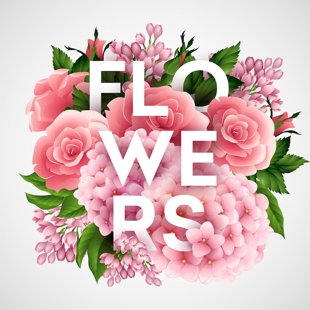 Stijlvolle vector poster met prachtige bloemen Premium Vector