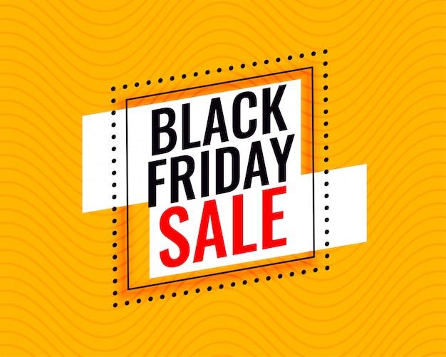 Stijlvolle zwarte vrijdag verkoop frame op gele achtergrond Gratis Vector