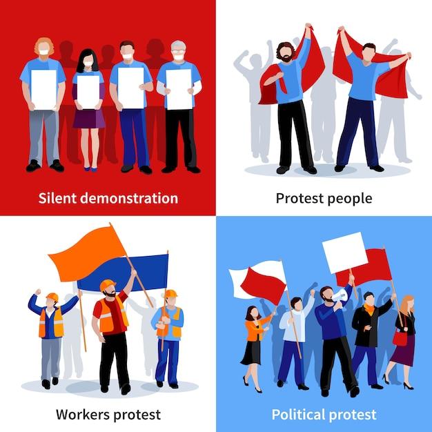 Stille demonstratie en politieke protestmensen met aanplakbiljettenmegafonen en vlaggenkarakter vastgestelde vlak geïsoleerde vectorillustratie Gratis Vector