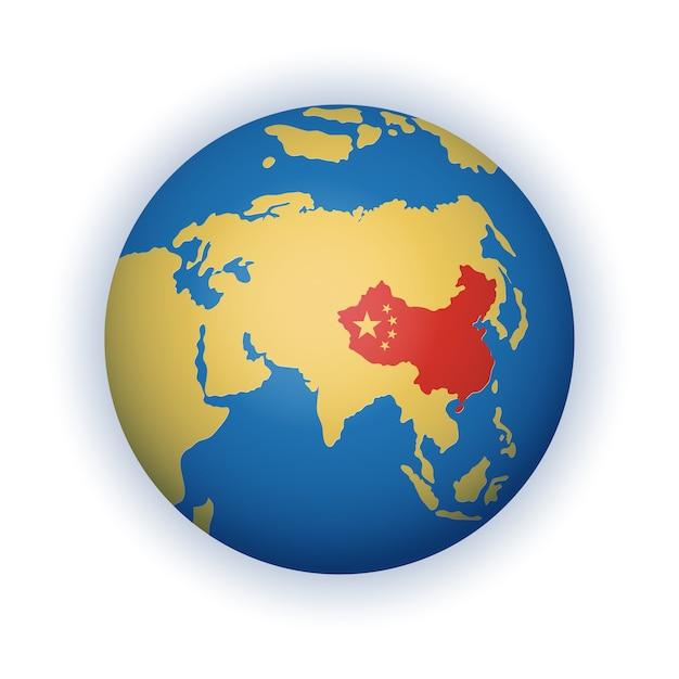Stilyzed, vereenvoudigde wereldbol in blauwe en gele kleuren met het grondgebied van de volksrepubliek china rood gemarkeerd Premium Vector