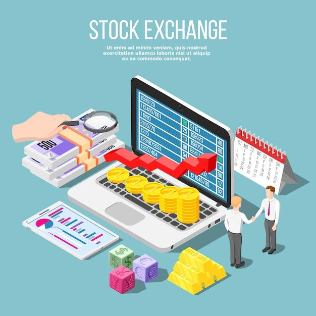 Stock exchange isometrisch Gratis Vector