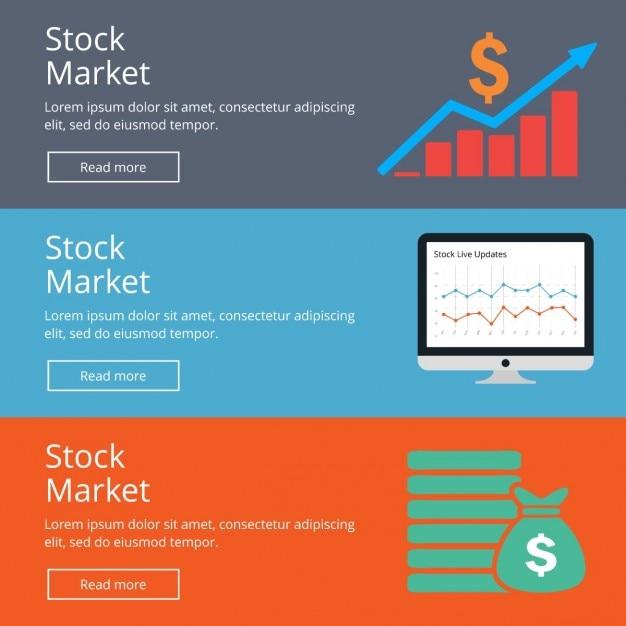 Stock market web banner Gratis Vector
