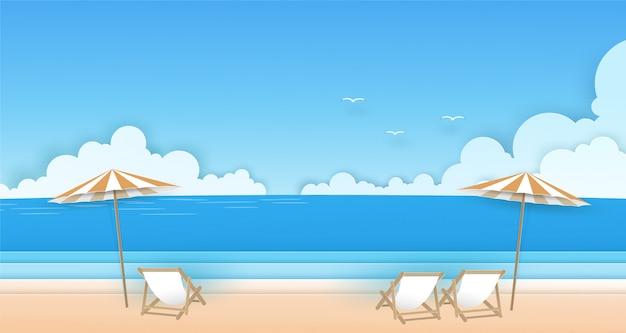 Stoel en paraplu op het strand met wolken, vogels en blauwe hemelachtergrond. zomer vector papier kunst concept. Premium Vector