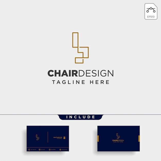 Stoel logo geïsoleerd Premium Vector