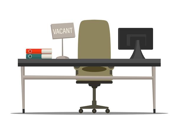 Stoel met vacante tekenillustratie. werving van werknemers. werkgelegenheid, vacature en inhuur baan. zakelijk wervingsbureau. ergonomische kantoorwerkplek met bureau en fauteuil Premium Vector