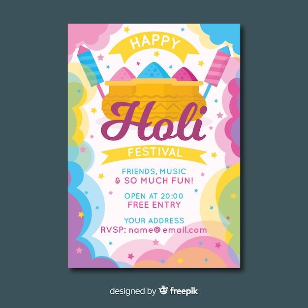 Stofwolk holi festival feestaffiche Gratis Vector