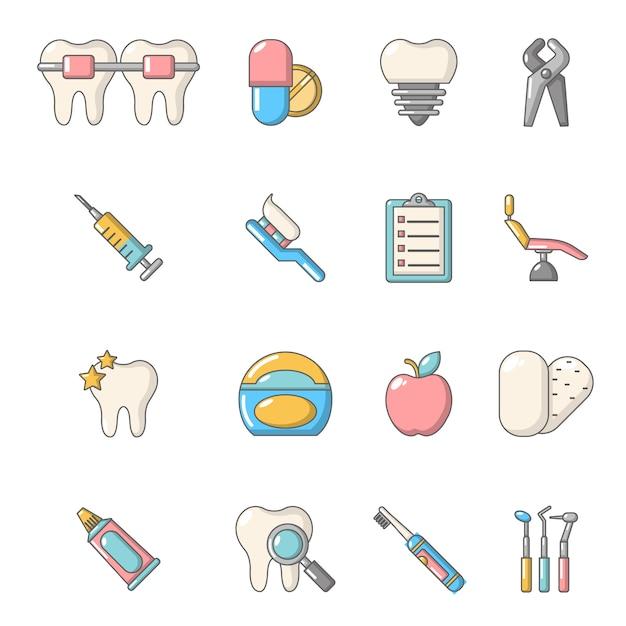 Stomatologie tandheelkundige pictogrammen instellen Premium Vector