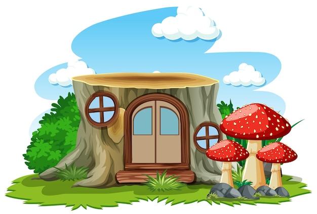 Stomp huis met paddestoel in cartoon-stijl op wit Gratis Vector