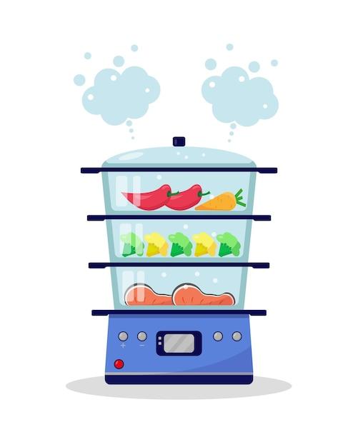 Stoomboot met voedsel. groenten en vis worden gekookt in een stoomboot. koken in een stoombootconcept. illustratie. Premium Vector