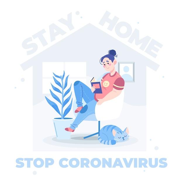 Stop coronavirus geïllustreerd concept Gratis Vector
