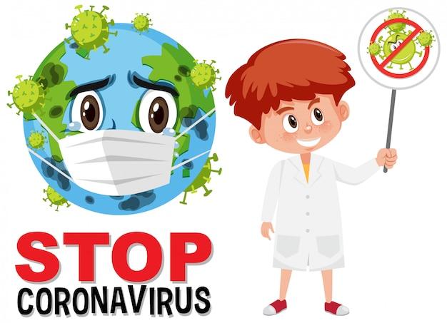 Stop coronavirus-logo met aarde die masker stripfiguur draagt en arts houdt stopwaarschuwing coronavirus teken vast Premium Vector