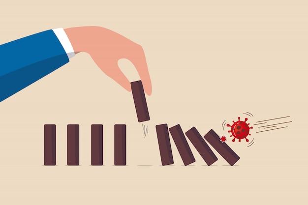 Stop domino-effect van instorting van markt en economie, financiële crisis door covid-19 coronavirus griepuitbraak, covid-19 virus pathogeen impact domino creëer val domino-effect, maar kies er een uit om te stoppen Premium Vector