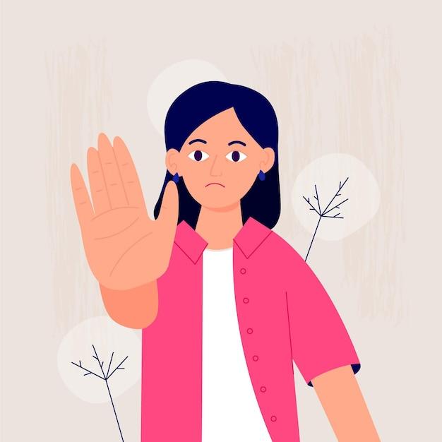 Stop gender geweld concept Gratis Vector