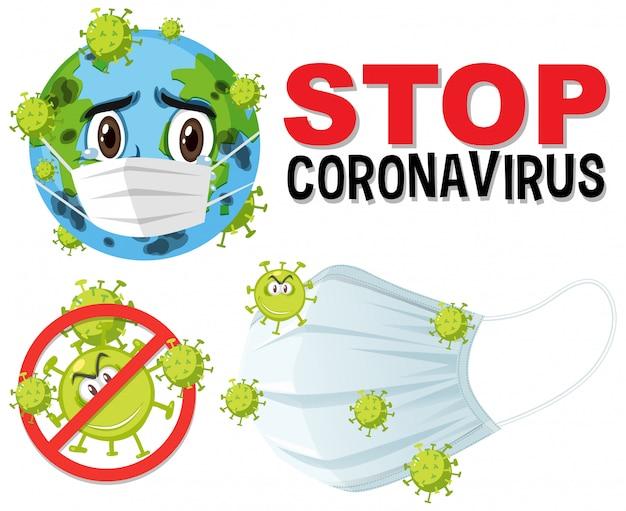 Stop het coronavirus-tekstbord met het coronavirus-thema Premium Vector
