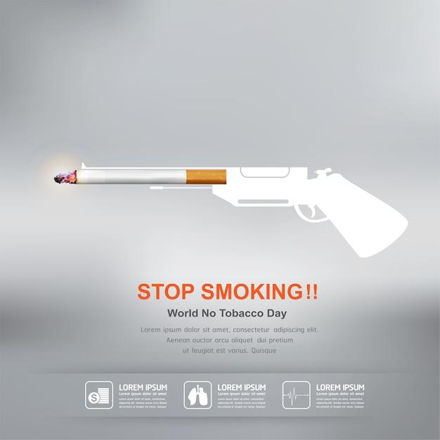 Stop met roken concept voor achtergrond werelddag zonder tabak. Premium Vector