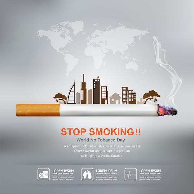 Stop met roken concept voor achtergrondwereld geen tabaksdag. Premium Vector