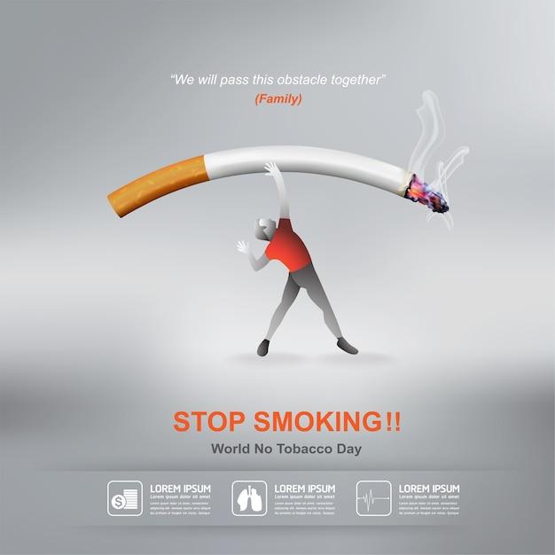 Stop met roken concept werelddag zonder tabak Premium Vector