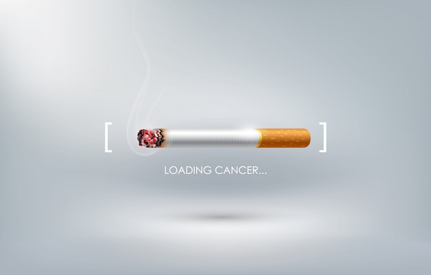 Stop met roken conceptadvertentie, het branden van sigaretten als het laden van kanker, wereld zonder tabaksdag, Premium Vector