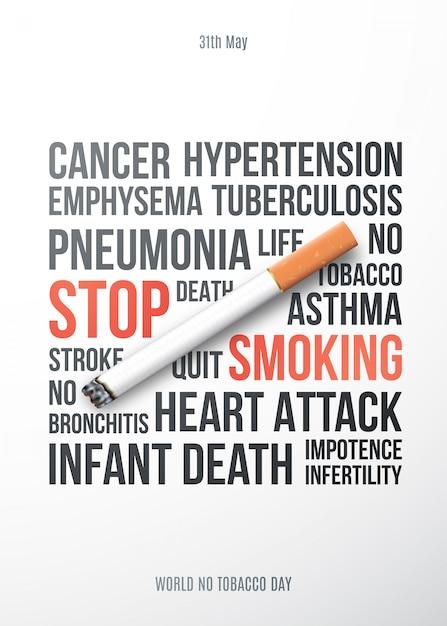 Stop met roken motiverende poster. Premium Vector
