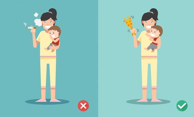 Stop met roken voor kinderen, verkeerd en goed voor niet roken Premium Vector
