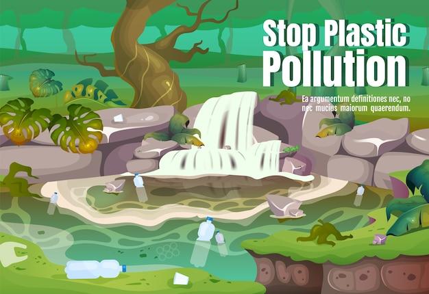 Stop plastic vervuiling poster platte sjabloon. verontreiniging in water. vervuild tropisch woud. brochure, boekje conceptontwerp van één pagina met stripfiguren. jungle flyer, folder Premium Vector