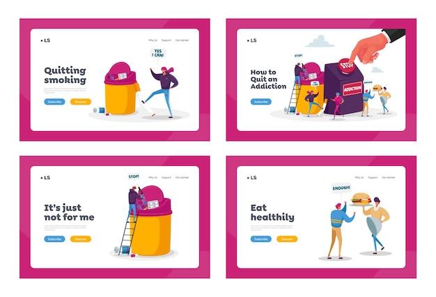 Stop verslaving, sjabloon voor bestemmingspagina's voor gezond leven. personages stoppen met roken, drugs en ongezond eten Premium Vector