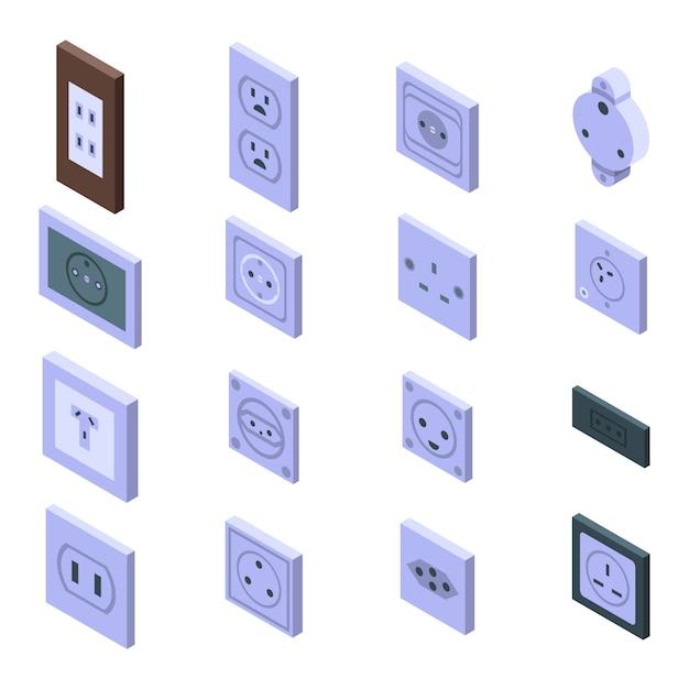 Stopcontact iconen set, isometrische stijl Premium Vector
