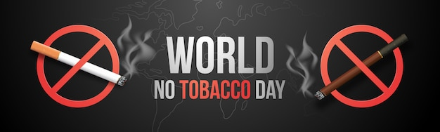 Stoppen met roken concept, brandende sigaret in verbodssymbool. Premium Vector