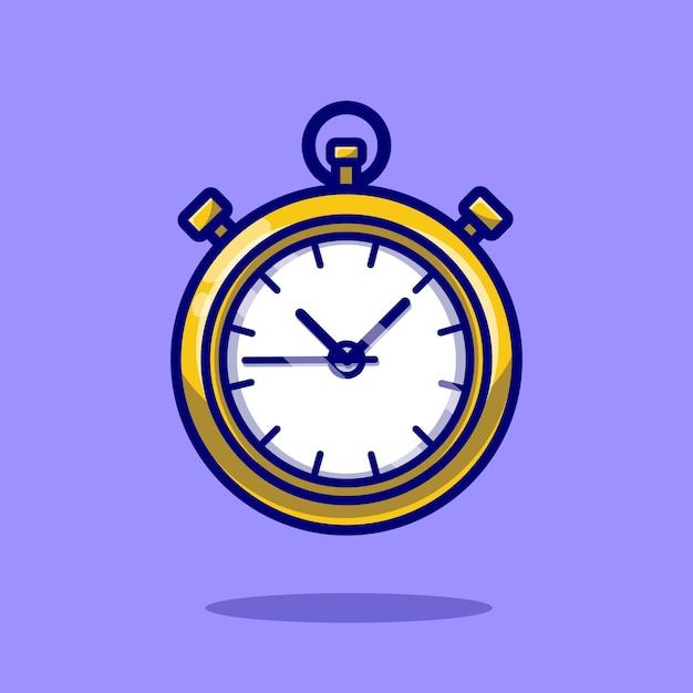 Stopwatch timer cartoon pictogram illustratie. Gratis Vector