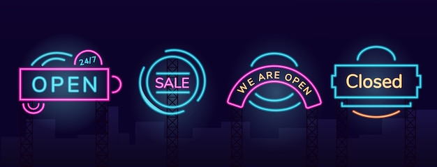 Storefront vector neonlicht bord teken illustraties instellen. night shoppen commercieel uithangbordontwerpenpakket met buitengloedeffect. werktijden en uitverkoop fluorescerende reclamebanners Premium Vector