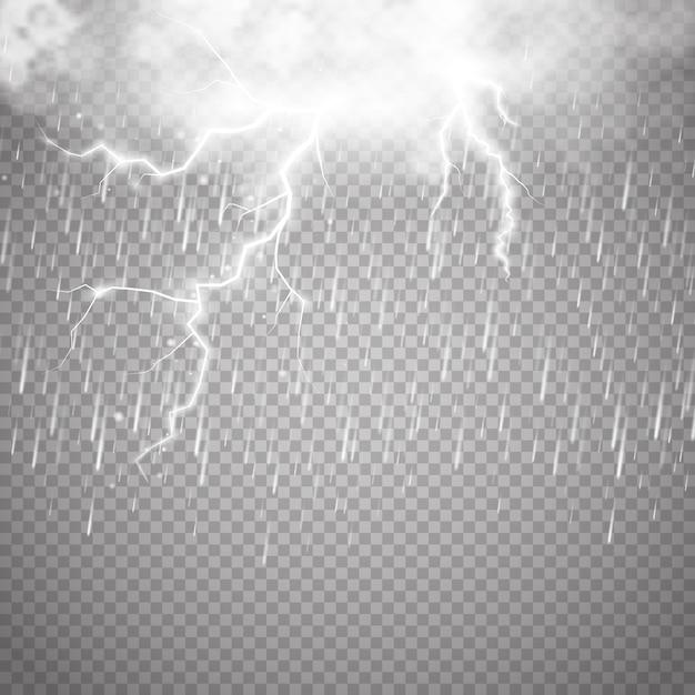 Storm en bliksem met regen en witte wolk geïsoleerd op transparante achtergrond Premium Vector