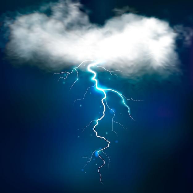 Stormeffecten met heldere blikseminslag van wit verlichte wolk op nachtelijke hemel vectorillustratie Gratis Vector