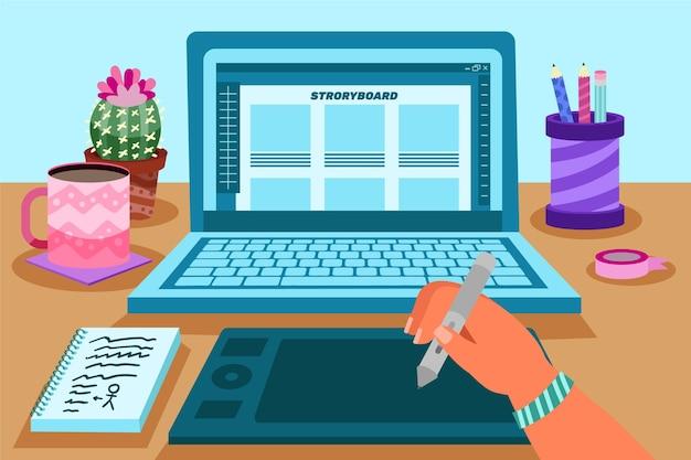 Storyboard concept met laptop Gratis Vector