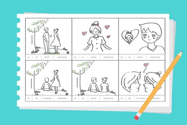 Storyboard over liefdeconcept Gratis Vector