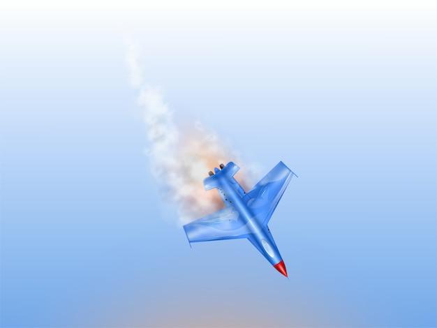Straaljager ongeval, militair vliegtuig in brand. verlaagd gevechtsvliegtuig Gratis Vector