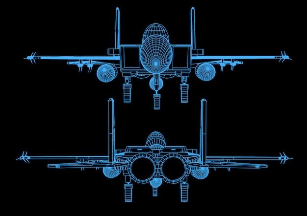 Straaljager tijdens de vlucht in abstracte veelhoekige stijl Premium Vector