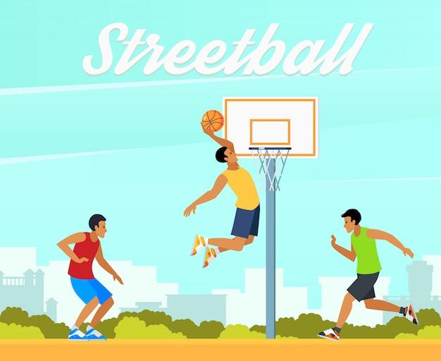 Straat basketbal illustratie Gratis Vector