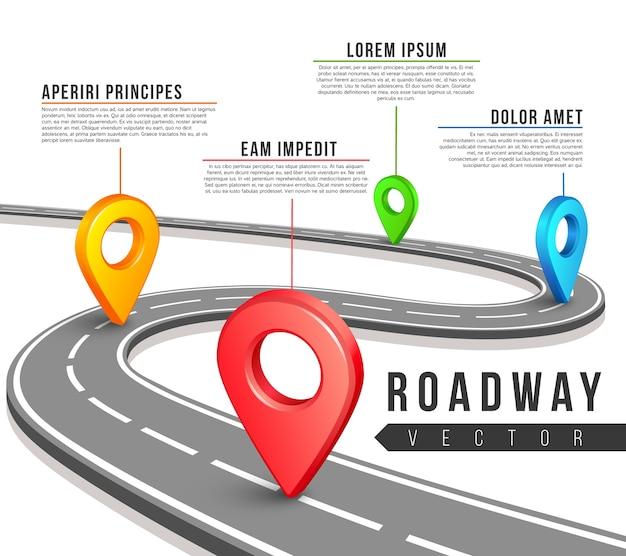 Straat routekaart voor vector zakelijke infographics ontwerp. Premium Vector