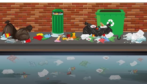 Straatbeeld met afval Gratis Vector