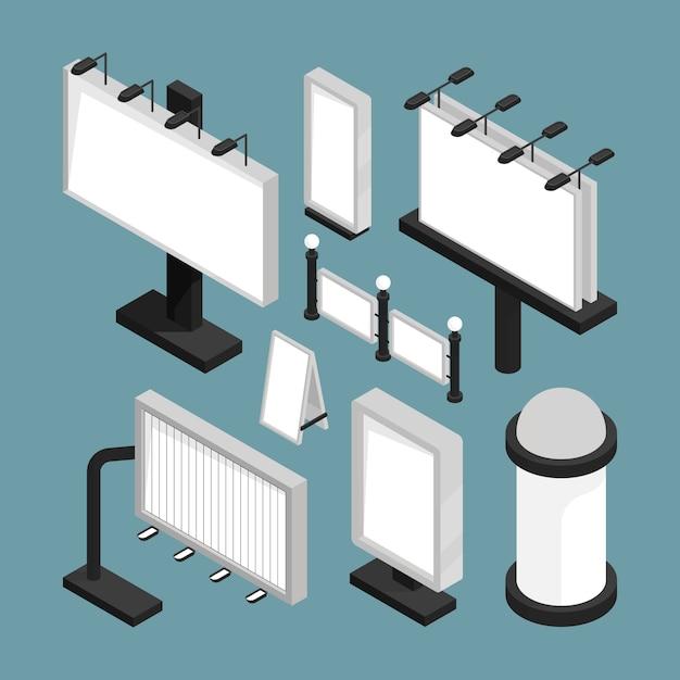 Straatborden reclame. led-panelen lichtbakken billboards lege mockup 3d sjablonen isometrische set Premium Vector