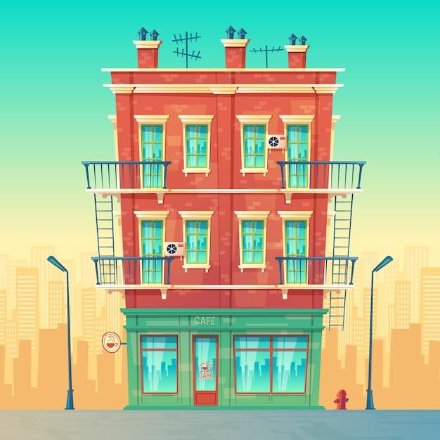 Straatcafé in een woonappartement met meerdere verdiepingen, stedelijk bedrijf, restaurant binnen Gratis Vector