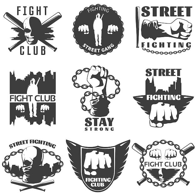 Straatgevechten zwart witte etiketten Gratis Vector