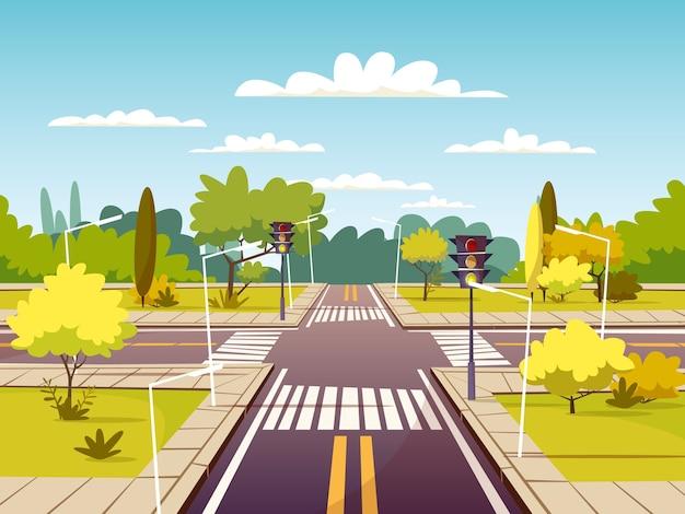 Straatkruispunt van verkeersweg en voetgangersoversteekplaats of zebrapad Gratis Vector