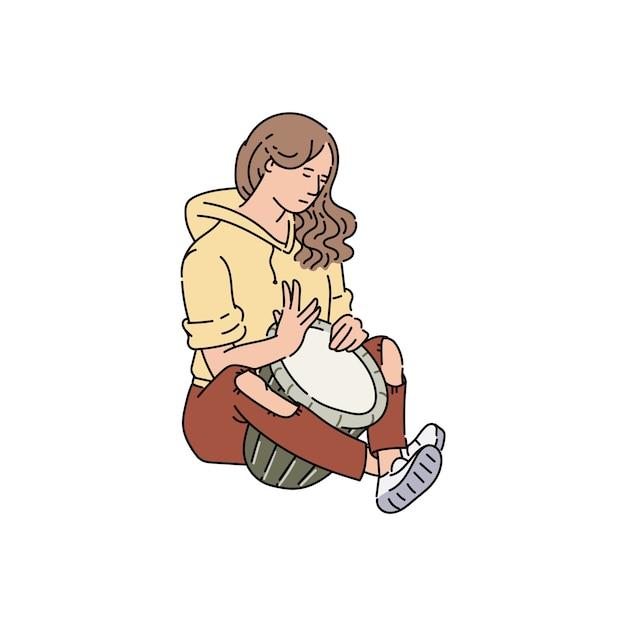 Straatmuzikant of performer vrouw stripfiguur, schets illustratie op witte achtergrond. stadsstraten outdoor entertainment muzikale show speler. Premium Vector